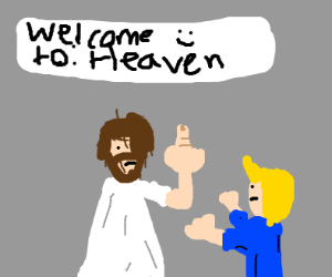 jesus is being very mean to boi in blue shirt