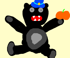a black animal with a blue hat eating a pumki