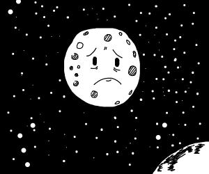 The moon with a sad face