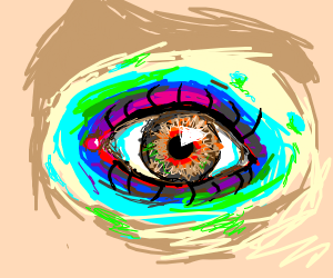 Eye with paint around it