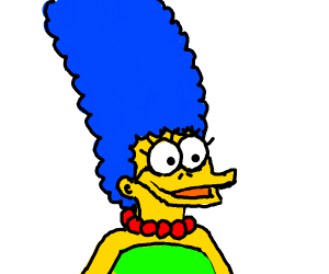 marge with a duck beak