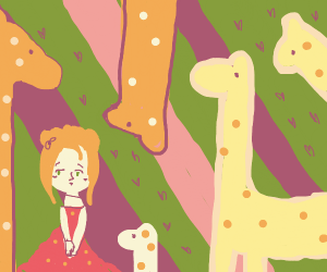blushing lady in the middle of girrafe party