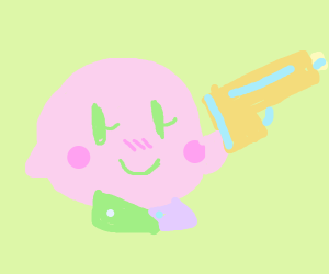 Kirby with a gun
