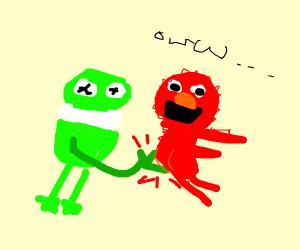 Kermie spanks Elmo