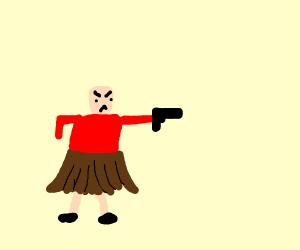 Angry man with brown skirt and gun