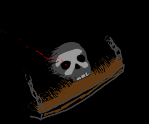 Red eyed skull in the darkness