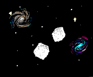 two sugar cubes floating in space