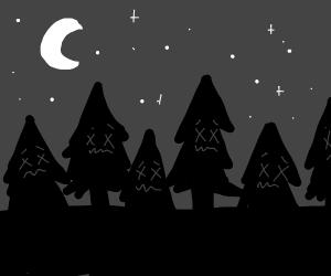 Dead forest on moonlit night