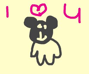 A cute panda loves you!