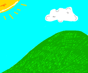 Grassy Hill Landscape with sun