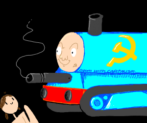 Girl waves to communist Thomas the Tank