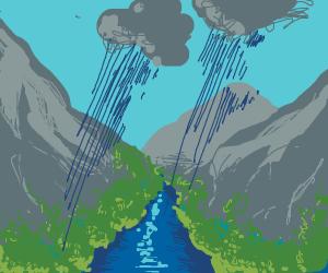 rainy mountainscape