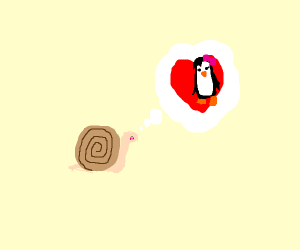 Snail is in love with a penguin