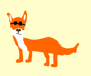 that's one cool fox because he has sunglasses