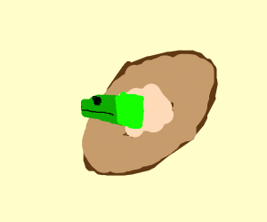 lizard emerging from sweet potato
