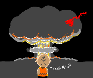 Charlie Brown in front of an explosion