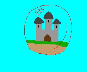 Castle in a red bubble