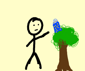man balances a gift bag on a tree