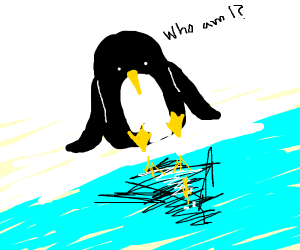 Somber looking penguin reflecting on life