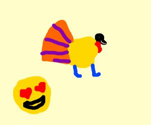 Heart eye emoji loves a colorful turkey