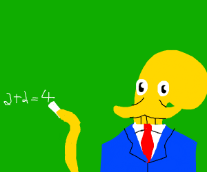 yellow octopus impersonates teacher