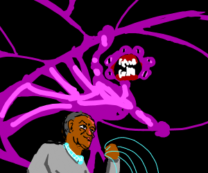 bill cosby hunts purple monster  with a web