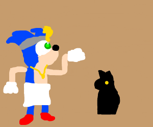 Sonic the Pharoah with a black cat