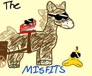 Horse and carriage, banana peel, stapler