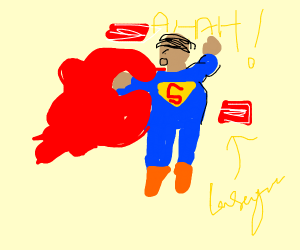 Superman covered in lasagna