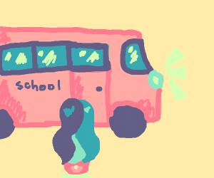 girl catching the school bus