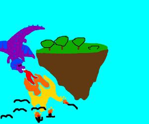 Dragon defends it's sky island