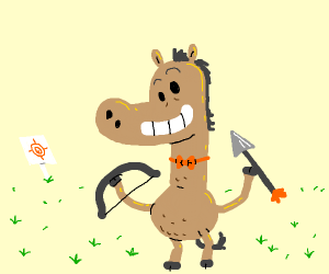 Horse with a bow and arrow