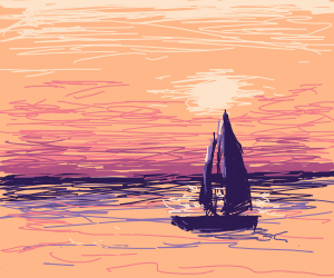 A boat facing a sunset