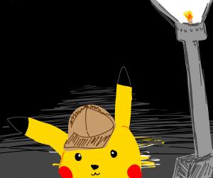 Detective pikachu under a stream lamp