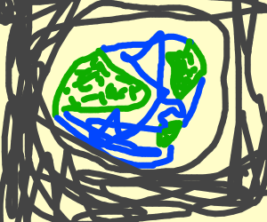 The earth with a big NEIN!