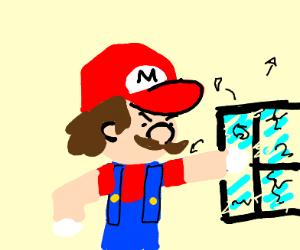 Mario smashes a window