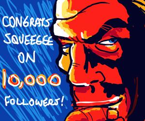 Thanos/the thing congratulates 1000 followers