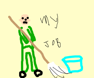 A janitor mopping the floor