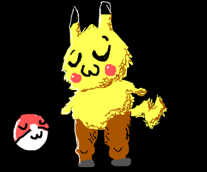Furry Pikachu with horse legs
