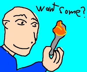 Creepy bald guy offers you a spoon of PB