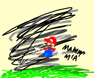 Mario being sucked up by a tornado