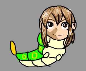 Caterpillar with an anime girl head