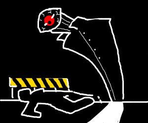 Eye man at a crime scene (Murder)