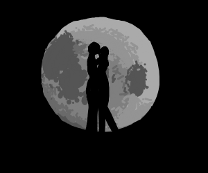 Lovers in the fullmoon shine