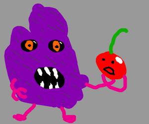 horrifying creature eats sentient cherry