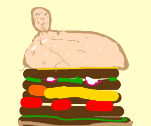 Epic burger with a man head tumor