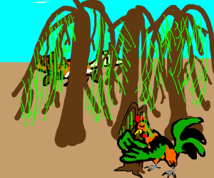 chicken thanks the trees