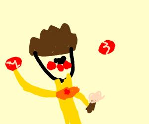 Clown throwing red baseballs