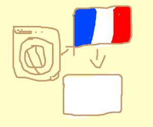 French Flag, put in washer, make it white
