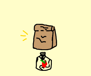 lunchbag head apple man says hi